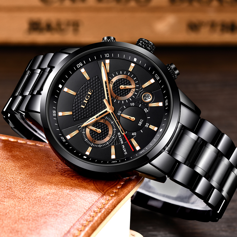 2019LIGE Mens Watches Top Brand Luxury Men 39 s Military Sports Quartz Watch Men Stainless Steel Waterproof Watch Relogio Masculino in Quartz Watches from Watches