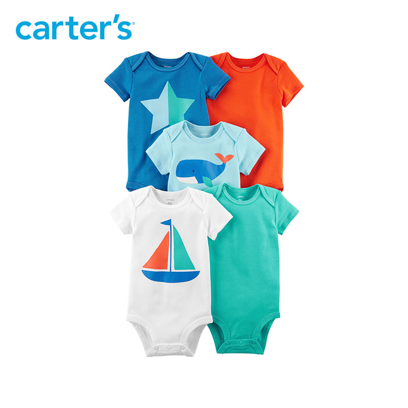 5pcs Cotton sweet sailboat star whale prints Bodysuits Sets Carter's baby Boy Summer Short Sleeve clothings 126H323