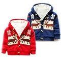 Baby Sweaters Christmas Reindeer Cardigan Jackets Children Fleece Lining Coats Kids Boys Girls Outwear Autumn Winter Clothing