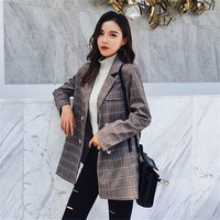 Autumn Winter Suit Blazer Women 2018 Fashion Casual Jacket Office Ladies Full Double Breasted Notched Plaid Blazer Outerwear
