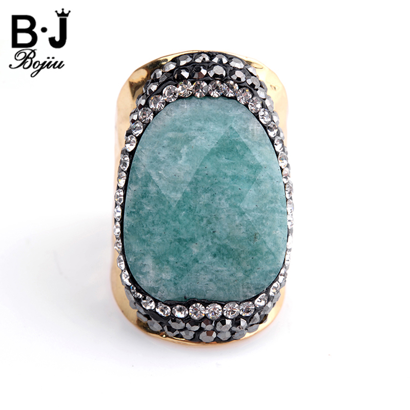 Bojiu Natural Stone Ring Zircon Electroplated Gold-color Adjustable Size New Fashion Jewelry Rings For Women bague femme RI023 fashion party jewelry rings for women gold color cz snake dames ringen design christmas gift bague femme open rings ka0167