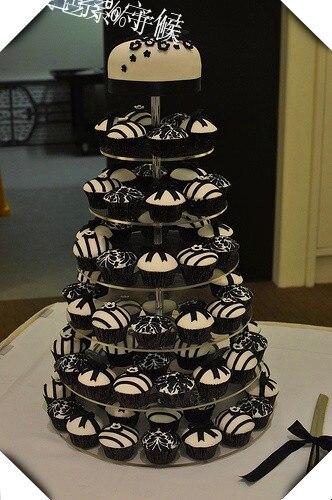 Hot shopping vente gratuite/livraison gratuite Design moderne personnalisé 7 niveaux acrylique gâteau Stand, acrylique tasse gâteau affichage