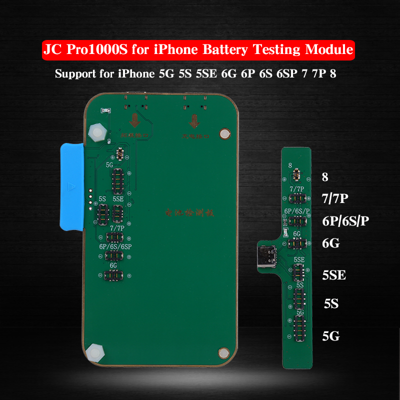 JC PRO1000S Battery Health Tester Battery Tester For iPhone 5 5S SE 6 6P 6S 6P 7 7P 8 8P X One Key Clear Cycle