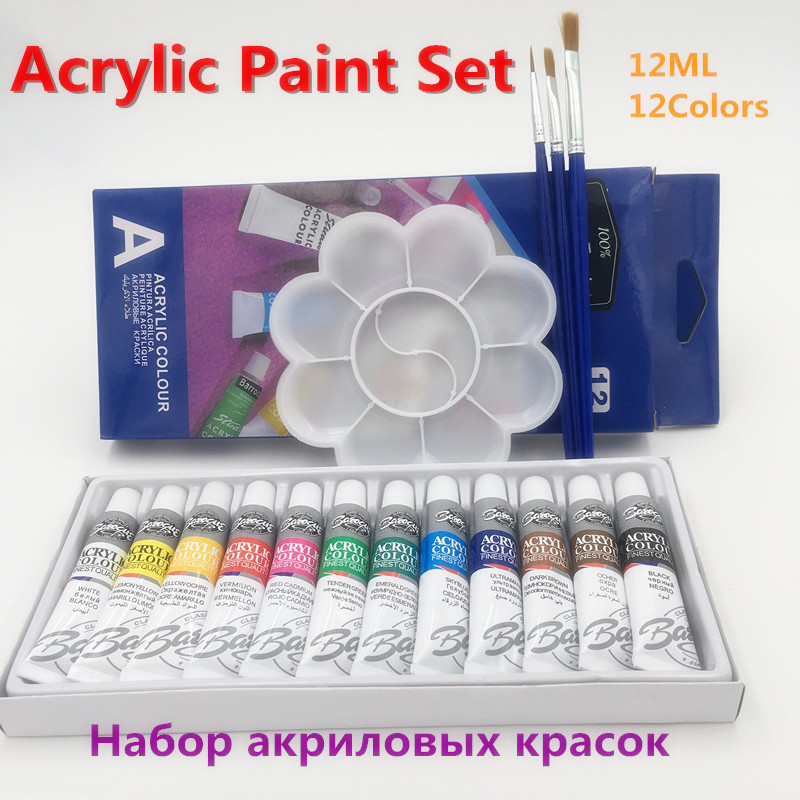 Discount Professional 12 Colors 12ml Acrylic Paint Color Set For
