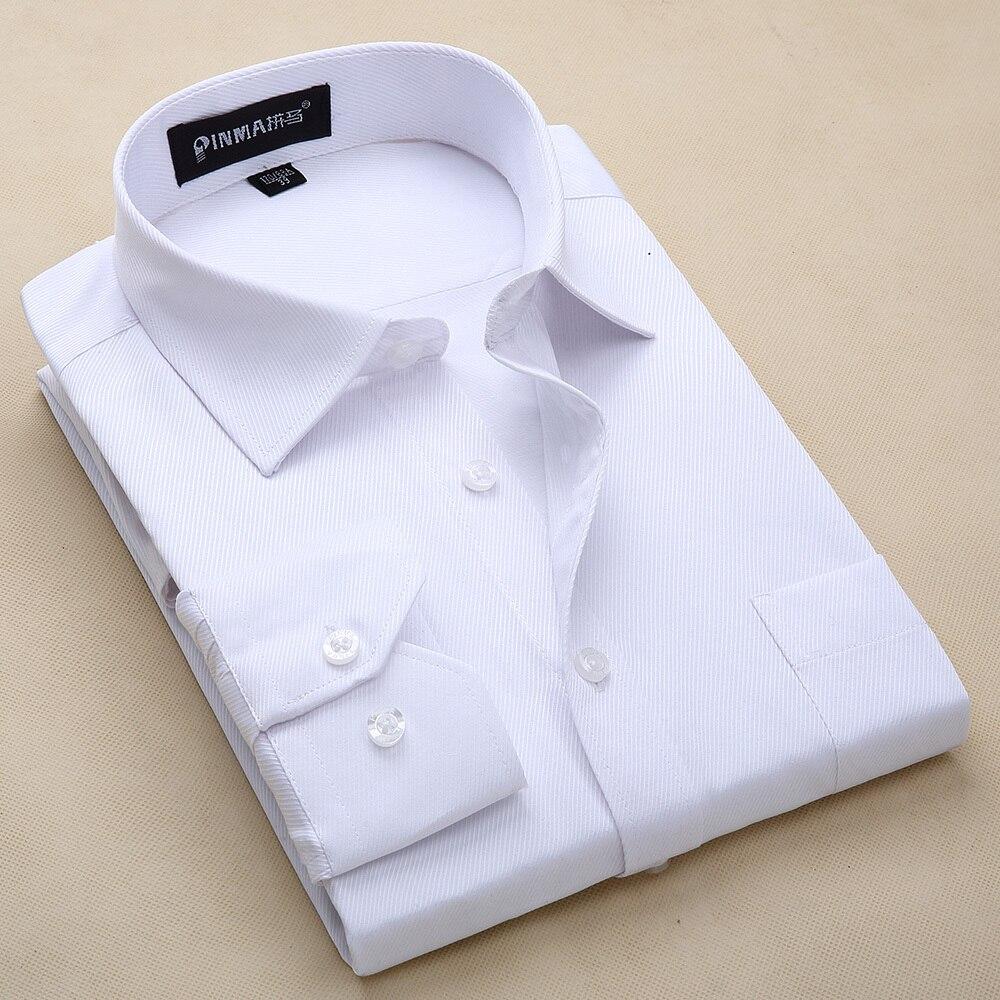 2017 Neue Ankunft Männer Kleider Langarm Casual Shirts Männer Hemd Drehen-unten Kragen Herren Hemden Einfarbig Shirts Für Männer