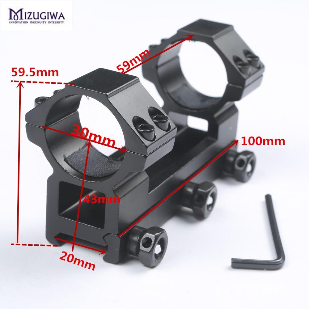 Mizugiwa táctico de una pieza plana 30mm doble anillo superior perfil de montaje 20mm RIS rail Picatinny rail para rifle