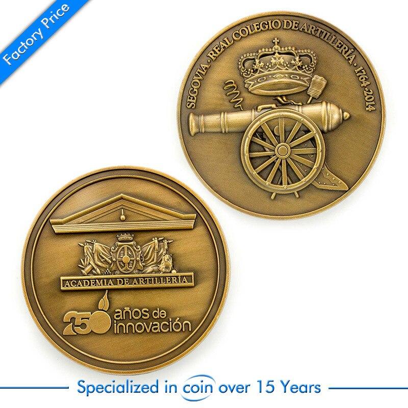 Custom Zinc Alloy 3D Coin cheap custom antique gold Military cannon memorial coins