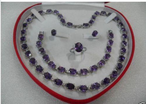 Belle femmes set améthyste collier Bracelet bague boucle d'oreille ^^^ 18 K GP style beaux jewe Noble naturelle de jade livraison gratuite
