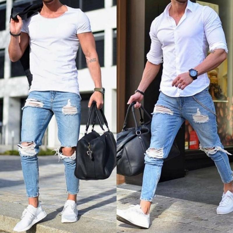 18c22d01638 Nueva moda pantalones de mezclilla para hombre Pantalones vaqueros  ajustados con cremallera con diseño rasgado para
