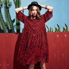 40cc4070700 ARTKA 2019 Spring Women Vintage Style Knee Length A-line Short Sleeve  Dresses Female