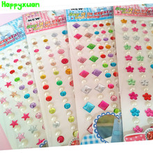Happyxuan 4 Sheets Crystal Diamond Pearl Stickers for Scrapbooking Rhinestone Self Adhesive Strips DIY Creative Craft