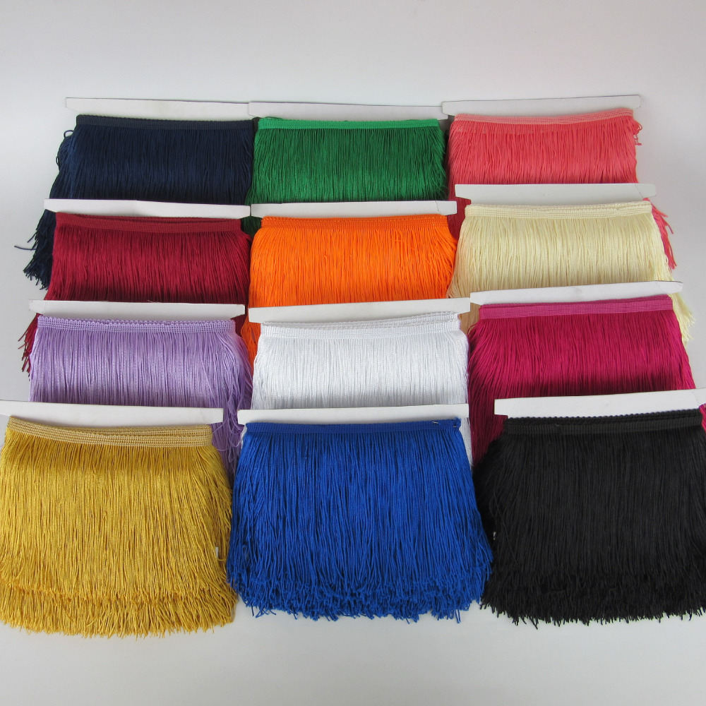 wholesale 10 yards 15cm Long Fringe Lace Tassel Polyester Lace Trim Ribbon Sew Latin Dress Stage Garment Curtain DIY Accessories