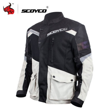 SCOYCO Motorcycle Jacket Breathable Mesh Moto Jacket Motocross Jacket Protective Gear Men Motorcycle Clothing Gray M-3XL SIZE