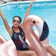 Надувной плавающий круг в виде фламинго розовое золото 150 см