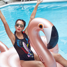 150cm 60 Inch Rose Gold Inflatable Flamingo Swimming Float for Adult Women Giant Pool Float Swimming Ring Summer Water Pool Toys 150cm giant rose gold flamingo pool float ride on swimming ring beach lounger floats adult summer water party inflatable toys