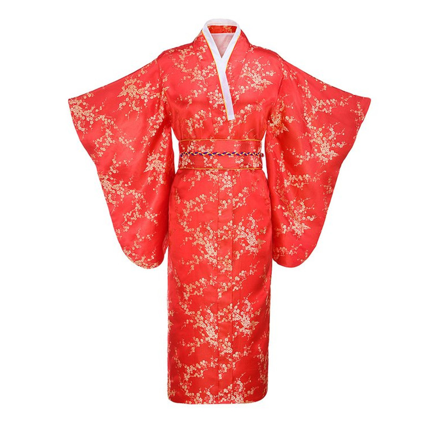 Red Japanese Women Traditional Kimono With Obi Vintage Evening Dress Performance Dance Dress Cosplay Costume One Size