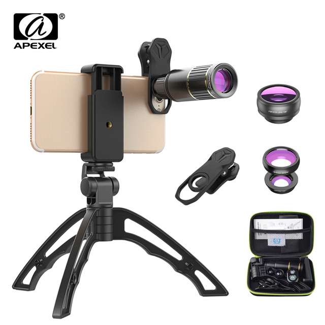 APEXEL Phone Camera Lens Kit universal Metal 16x Telescope telephoto lens+selfie tripod+ 3 in 1 lens for Samsung and otherphones