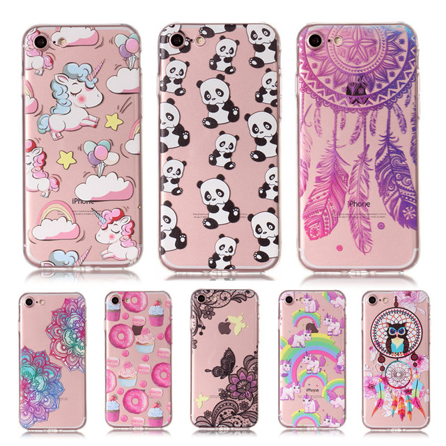 brand new cb3bd df78c US $1.99 |Unicorn Donuts Cover Cartoon Cases For iPhone 6 6s 7 Plus X Case  Soft TPU Silicone Cover For iphone X 7 7Plus 6s Phone Case Capa-in Fitted  ...