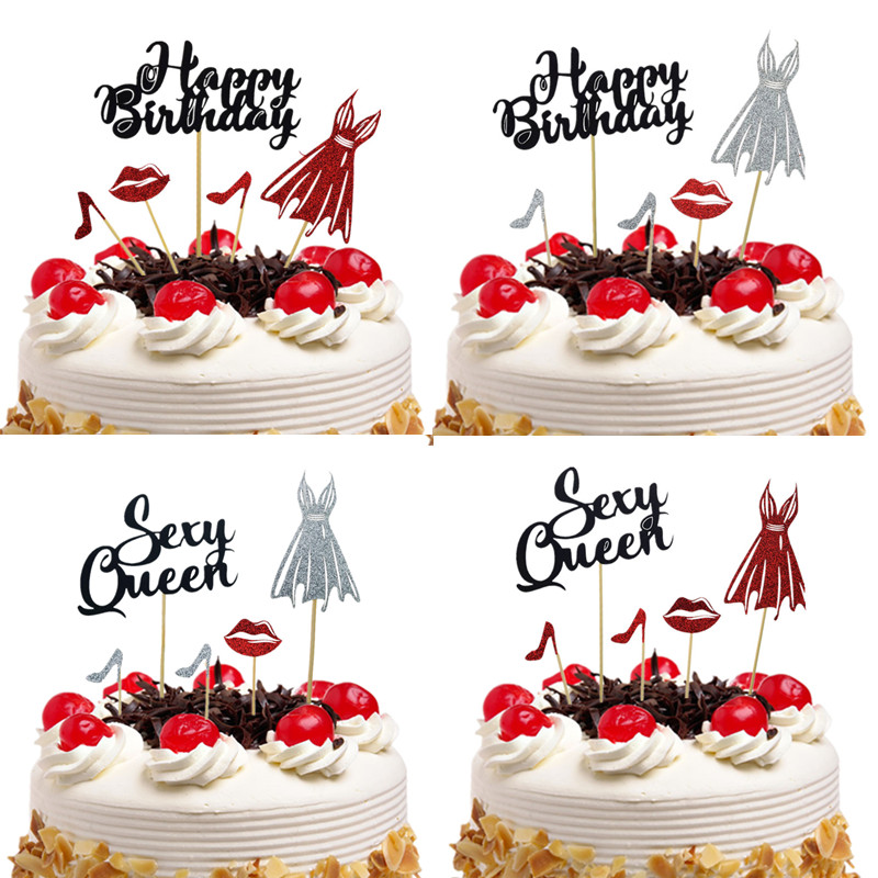 Cake Toppers Sexy Queen Happy Birthday Wedding Gold Silver Cupcake Cake Topper Flags Baby Shower Cake Baking DIY Party Decor