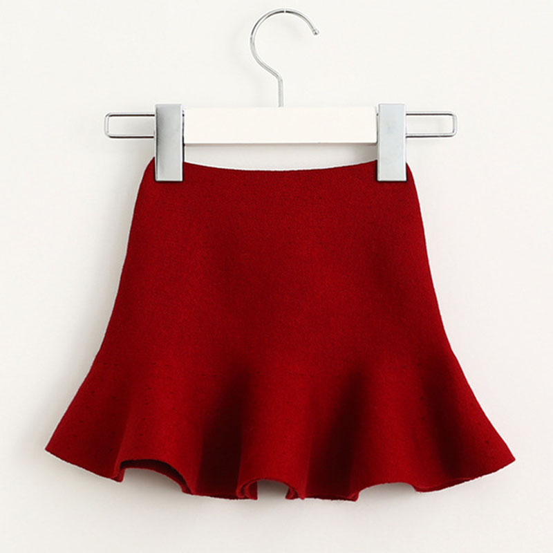 Wool knit solid short skirt girls half skirt 2017 new Korean children\'s clothing children\'s skirt (6)