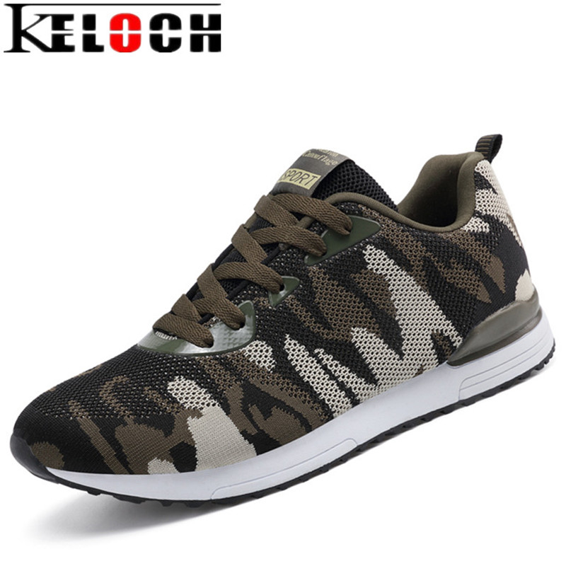 Keloch 2018 New Camouflage Military Unisex Running Shoes Men Women Breathable Flying Mesh Running Sneakers Comfortable krasovki