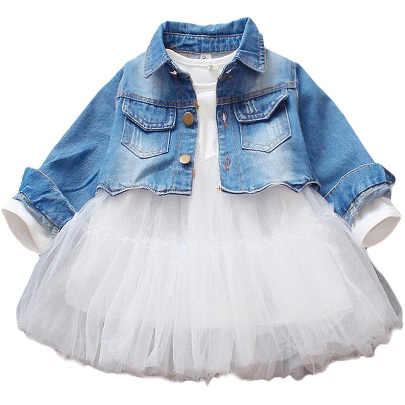 Toddler Girl Spring Winter Christmas Dress Clothes Girl's Denim Jacket Coat + Lace Tutu Dresses Cotton Children Clothing Sets