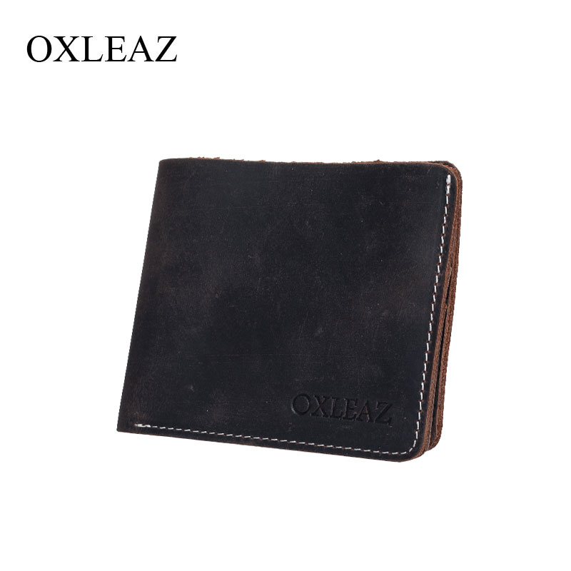 OXLEAZ Vintage Mens Genuine Leather Wallet Thin Man Brand Wallet Short Card Clip Male Pocket Purse Small Wallets for Men jmd genuine leather men wallet brand luxury super thin leather wallets office male short mature man bifold wallet small purse