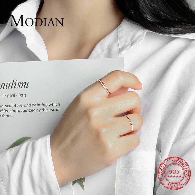 Modian สไตล์ใหม่ 100% 925 เงินสเตอร์ลิง Charm Simple แหวน 3 สีแฟชั่นเครื่องประดับสำหรับผู้หญิง Silver แหวน