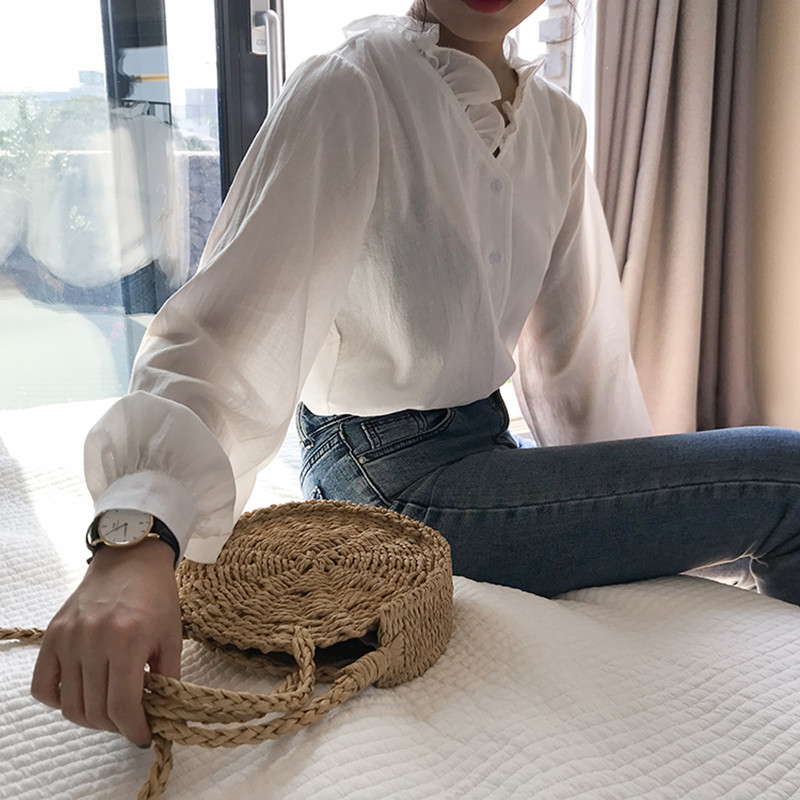 2 Colors 2018 Autumn Sweet Style Solid Clor Shirt Women Long Sleeve Blouses Womens Tops (F3551)