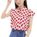 Summer Korean Style Cute Blousel Pluz Size Women Chiffon Blouse Shirts Polka Dot Striped Plaid  Floral Blusas Peter Pan Collar