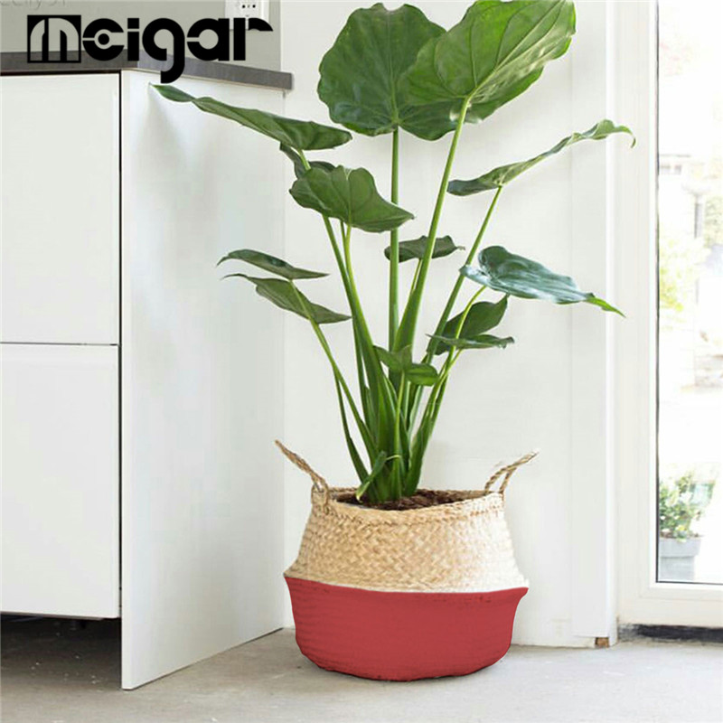 Foldable Rattan Straw Plant Basket Flower Pot Planter Hanging Wicker Storage Baskets Laundry Holder Home Garden Accessaries