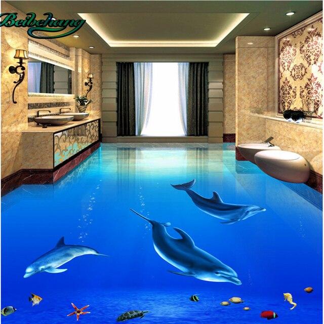 US $17.7 41% OFF Beibehang Große Eigene Tapete Wandbild Ästhetische Delphin  Unterwasser Welt 3D 3D Badezimmer Boden Fliesen Malerei in Beibehang ...