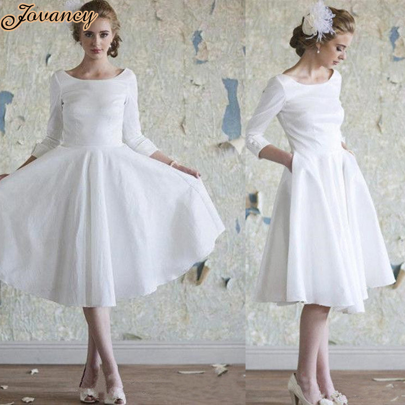 Simple White Short Knee Length Pockets Satin Wedding