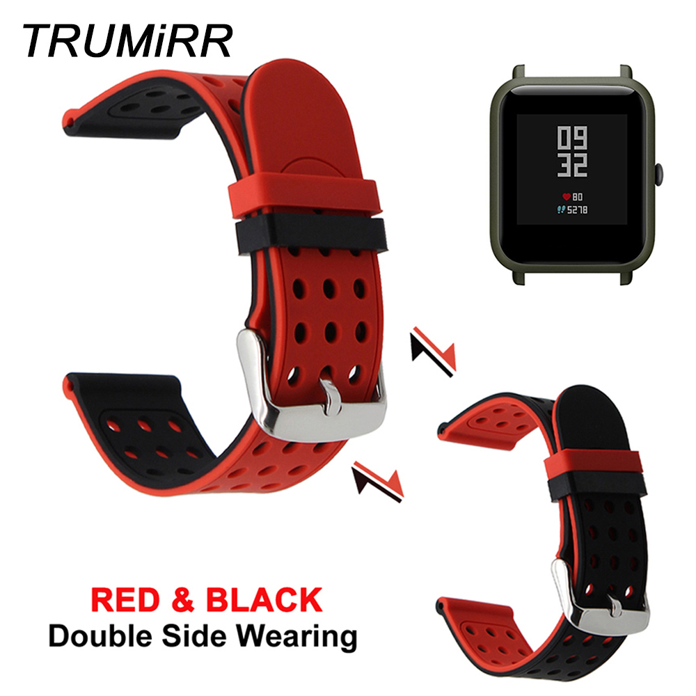 20mm Silicone Rubber Watchband Double Side Wearing for Xiaomi Huami Amazfit Bip BIT PACE Lite Youth Smart Watch Band Wrist Strap 3in1 metal strap double color band for original xiaomi huami amazfit bip bit pace lite youth smart watch screen protector film