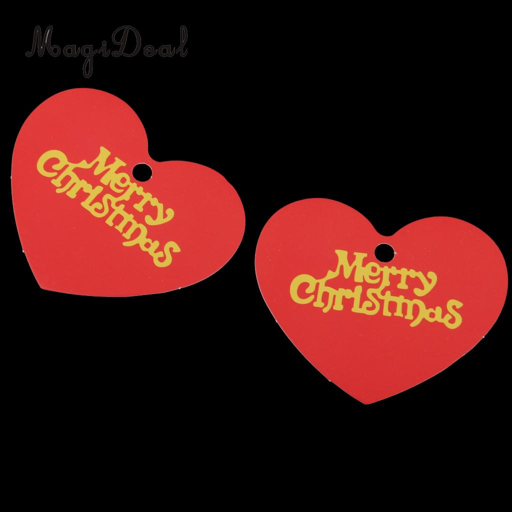 Magideal 48-50Pcs Merry Christmas Heart Shape Paper Hang Tags Label Card for Scrapbooks Signs Gift Tag Table Tag Name Card Decor