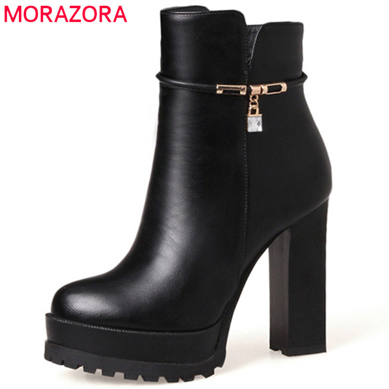 MORAZORA Two type with womens boots in spring autumn high heels shoes platform ankle boots for women fashion party size 34-43 morazora big size 34 43 high heels shoes spring autumn women pumps party wedding shoes bride two colors solid fashion europe