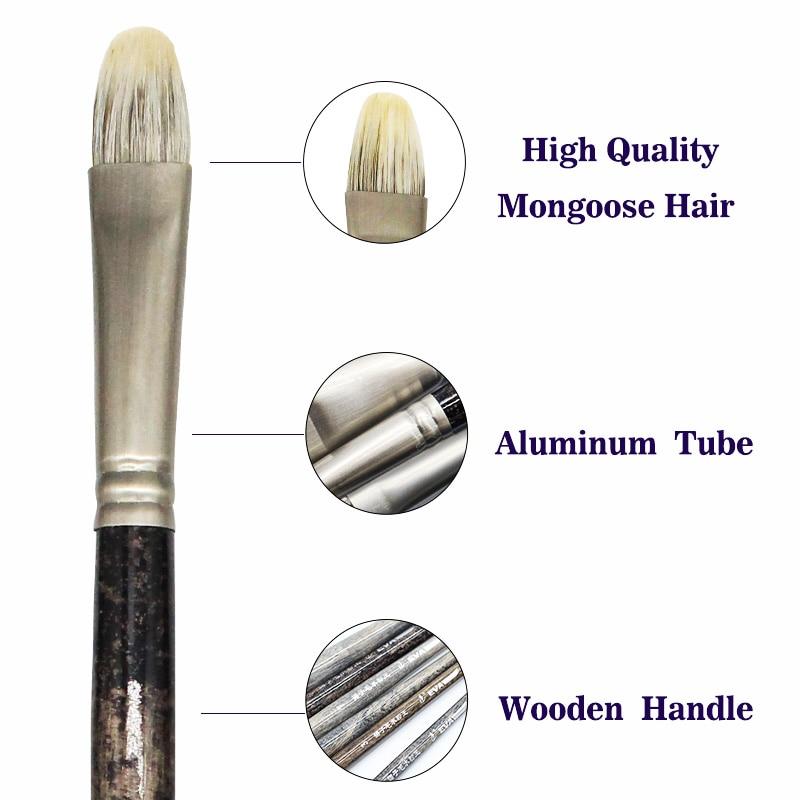 Eval 6pcs Ferret badger hair Birch Rod Quality Watercolor Paint Brush Professional Oil Gouache Acrylic Decorative Art Supplies