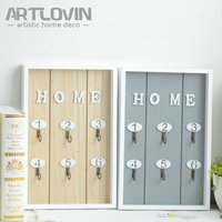 New! Home Interior Decor Wood Decorative Wall mounted Key hanging Storage Box Shelf With Hooks Living Room Wall Sundries Holders