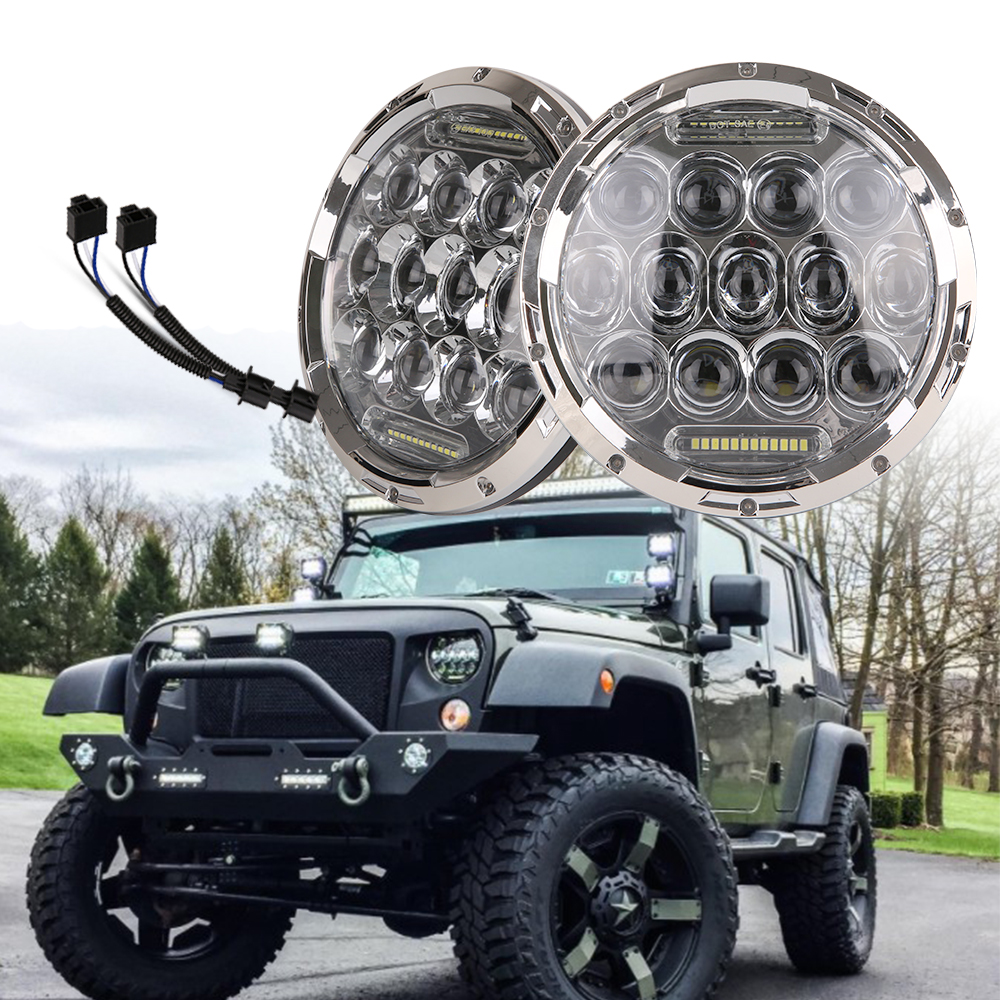 PAIR Super bright 75w H/L Beam H4 H13 LED Headlight with DRL 7 inch Headlamp for Jeep Jk Tj Fj Cruiser Trucks 4wd Lights 8pcs 30w led headlight 7 headlamp for 4x4 offroad suv 07 15 cj yj ct tj jk harley motorcycle h4 h13 wire