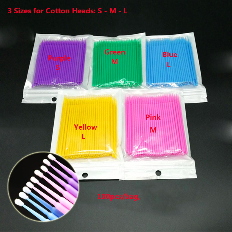 1000pcs Mix Sizes S-M-L Cotton Swab Cleaning Cotton Microblading Micro Brushes Swab Lint Free Tattoo Brush Embroidery Sticks