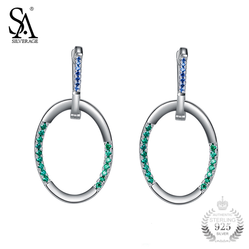 SA SILVERAGE 925 Sterling Silver Hoop Earrings Circle Earring For Women Female Brincos Pure Silver Jewelry 2018 Best Gift colorful cubic zirconia hoop earring fashion jewelry for women multi color stone aaa cz circle hoop earrings for party jewelry