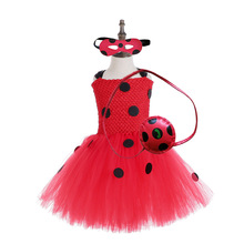 2019 Girls Costume tutu Dresses Summer with Mask and Bag for Kids 2-8Y Birthday Party Childrens Clothes Ladybird Ladybug