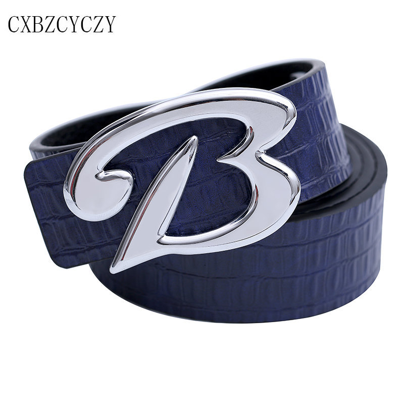 2017 New B brand designer men belt luxury High quality belts for men Jeans pants leather male strap crocodile grain belts