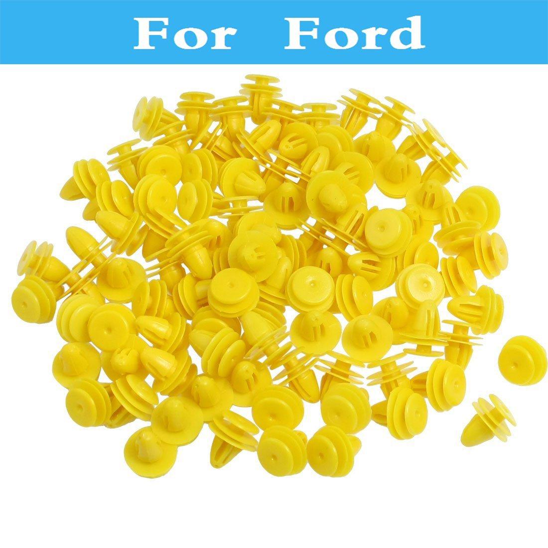 100pcs Yellow Plastic Rivet Car Door Trim Panel Clips For Ford Gt Ka Kuga X Thunderbird Fusion Maverick Mondeo St Mustang Taurus