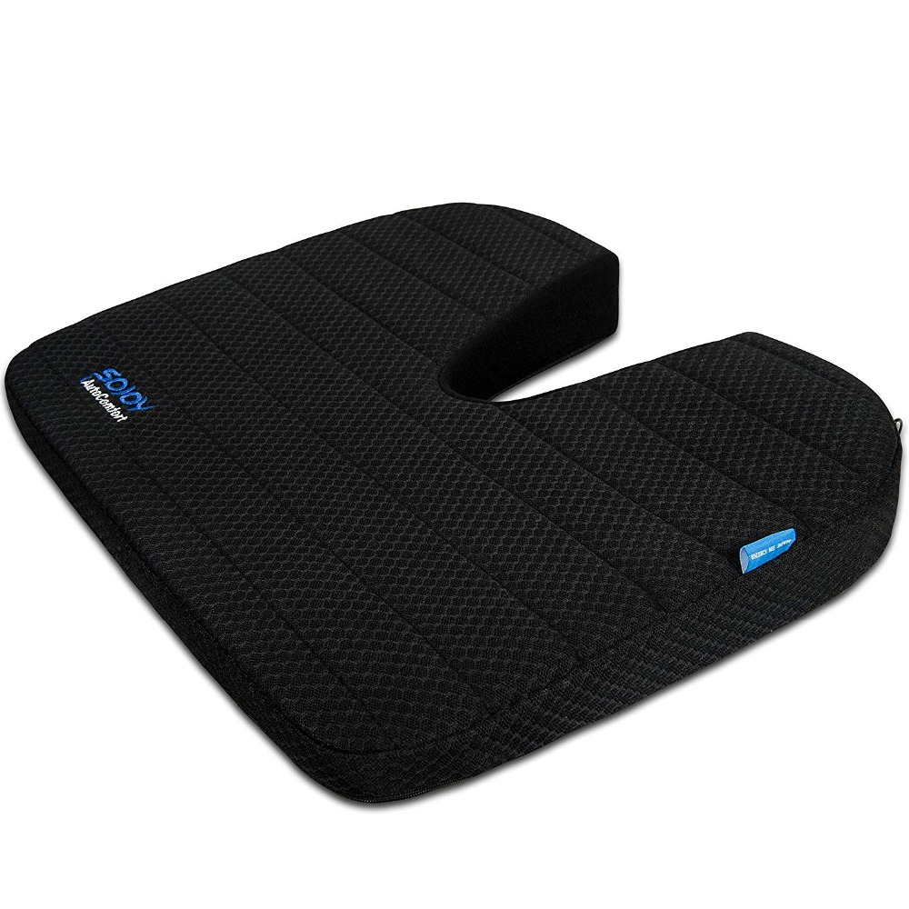 Sojoy Home Office Car Seat Cushion Drivers Wedge Coccyx Support for Back, Hemorrhoids, Hip, Leg Pain Memory Foam Seat Pad image