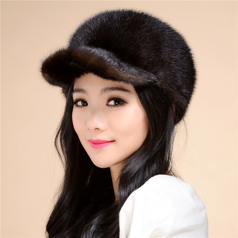 2016 New autumn and winter fur hat lady whole mink fur hat stewardess cap fashion warm special offer free shipping/ 3Color.#SD5 black brown fashion design genuine mink fur winter hat baseball newsboys cap lady headgear winter female elegant warm hat mh 011