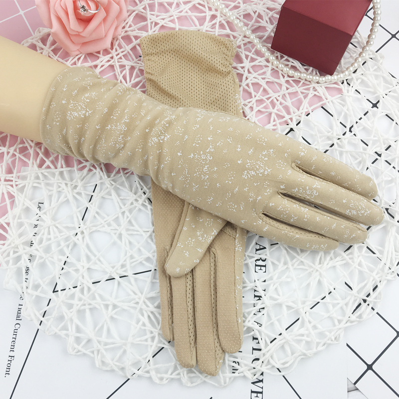 Summer Medium Long Cotton Gloves Women Short Driving Sun Protection Luvas Guantes Lady Non-slip Touch Screen Thin Mittens H3107