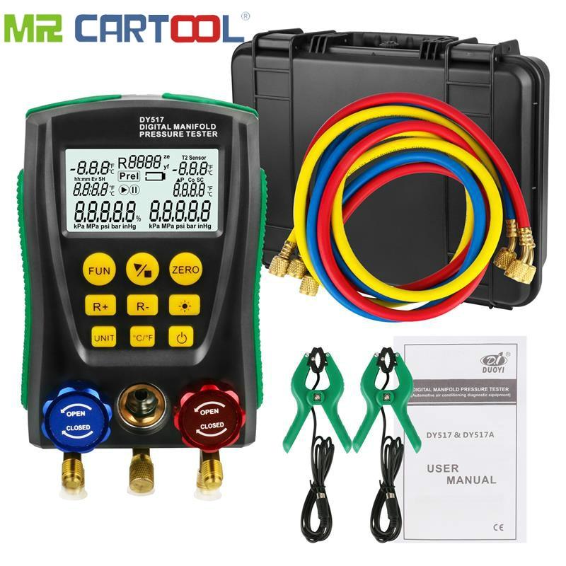 Refrigeration Digital Manifold Gauge Meter HVAC Vacuum Pressure Temperature Tester Kit with Test Clip and Pipe