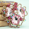 Bayliner Vogue Art Jewelry Flower Brooch Broach Pins Pink Rhinestone Crystal Brooches Woman Accessories BLN6457