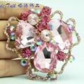 Bayliner Vogue Jóias Art Flor Broche Espeto Pinos Strass Rosa Broches de Cristal Mulher Acessórios BLN6457
